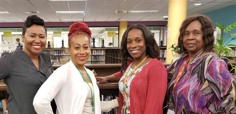 Albright counselors in library