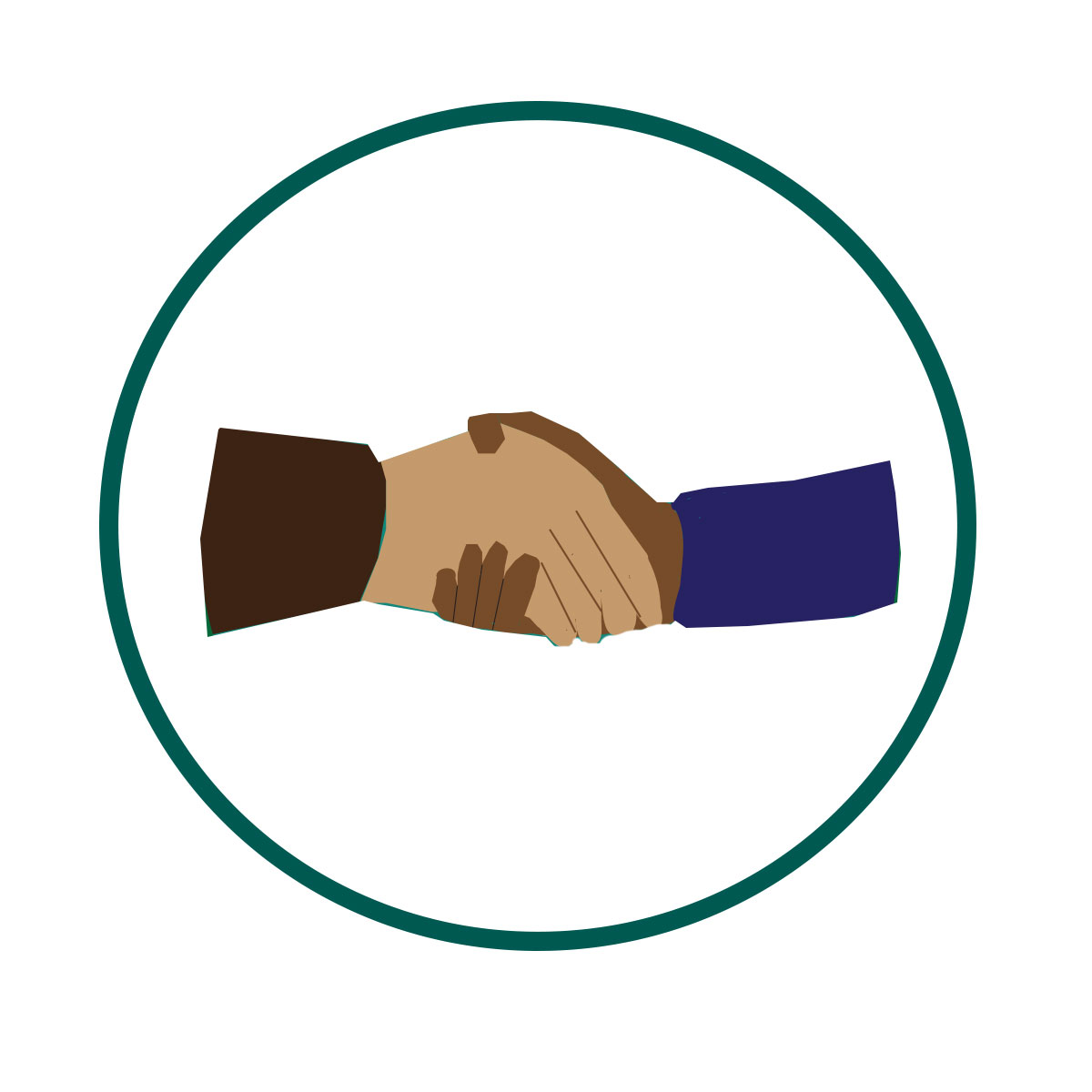 image of a hand shake with a green circle around them