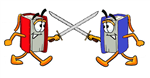 Battle of the Books logo- two books sword fighting