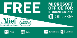 Microsoft Office 365 is available free of charge for all Alief ISD students