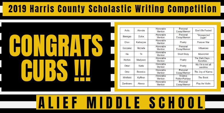 2019 Harris County Scholastic Writing