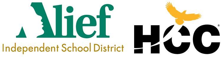 Alief ISD logo with HCC eagle logo