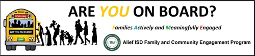 Graphic of the Alief ISD Family and Community Engagement Program family bus logo