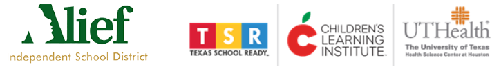 Alief, Texas School Ready, Children's Learning Institute, UT Health logos