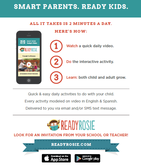 Graphic of Ready Rosie program flyer in English