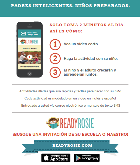Graphic of Ready Rosie flyer in Spanish