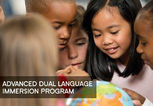 Students around globe with Advanced Dual Language Immersion Program text