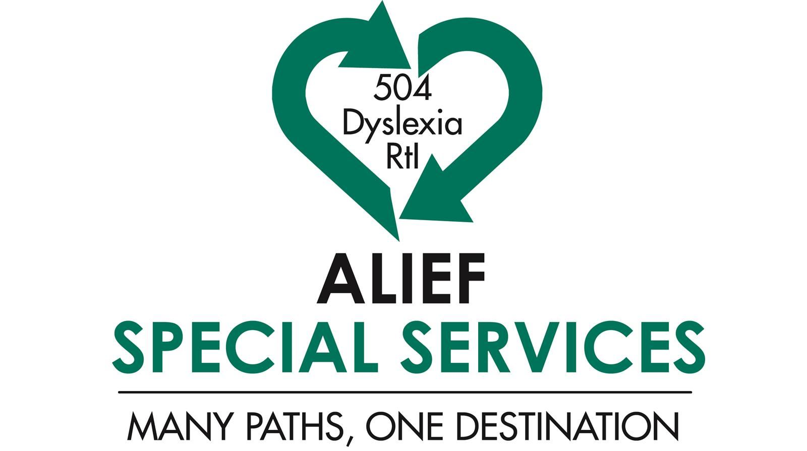 Alief Special Services logo Many Paths One Destination with heart over 504 Dyslexia RTI