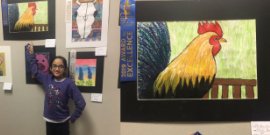 1st Place HLS&R Art Finalist Alice Medina stands proudly by her Artwork.