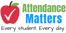 Attendance Matters - Every Student, Every Day with apple with check mark