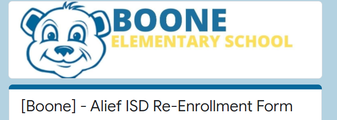 Boone  Re-Enrollment Form