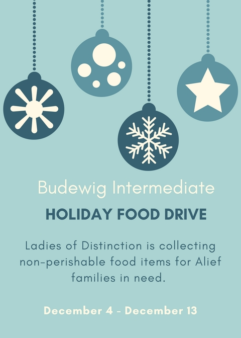 Food Drive December 4 through December 14.