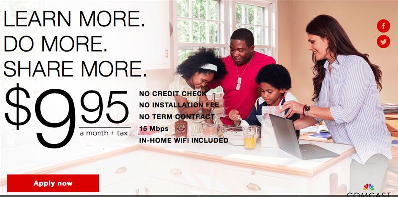 Comcast Internet Essentials Advertisement 9.95 a month
