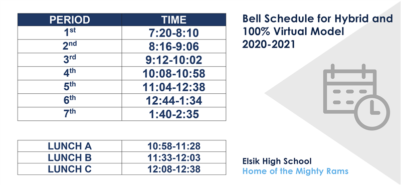 Bell Schedule for Hybrid and 100% Virtual Model 2020-2021