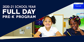 2020-2021 Full-Day Pre-Kindergarten Online Registration (Two students with pencils in classroom)