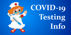 Drawing of a nurse holding a thermometer pointing towards the words COVID-19 Testing Info