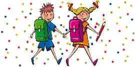 Drawing of two students with backpacks walking with a multicolored dot background