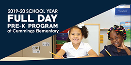2019-20 school year full day pre-k program at Cummings Elementary with smiling students