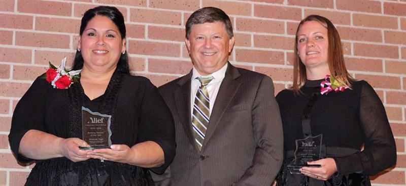 Superintendent and Board President with Robin Toy and Andrea Lotsu