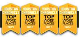Houston Chronicle Banner in yellow with TOP PLACES TO WORK in the middle with years 2016-2019