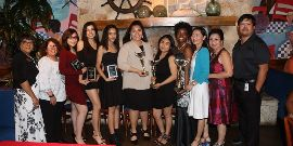 scholarship winners and school board members