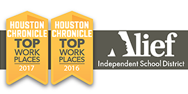 Houston Chronicle Top Workplace banners with Alief ISD logo of face in letter A