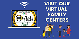 Visit Our Virtual Family Centers with computer and family