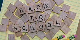 Scrabble with back-to-school tiles