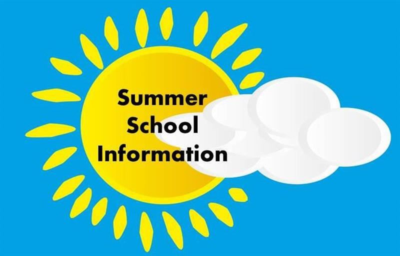 Sun in the sky with a cloud partially covering saying Summer School Information