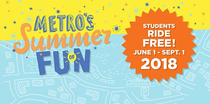 background design of streets with Metro's Summer of Fun and a star design with the dates.