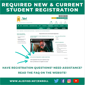 picture of enrollment webpage and arrows pointoing to frequently asked questions