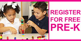 Children playing with blocks - Register for free Pre-K