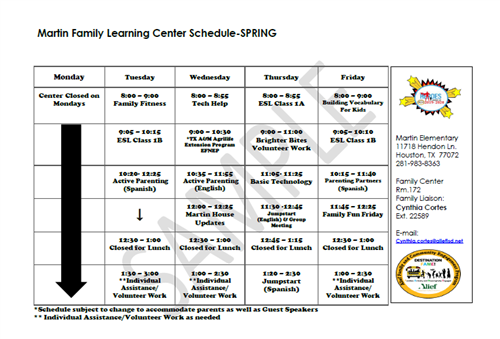 Martin Family Learning Center Schedule