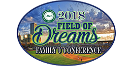 2018 Field of Dreams Family U Conference logo with baseball field