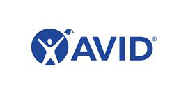 AVID logo - person with graduation cap