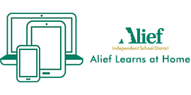Alief Learns at Home text with Alief ISD logo and devices