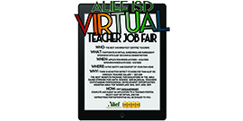 Alief ISD Virtual Job Fair information on tablet