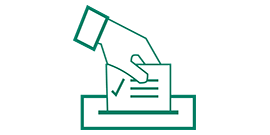 Graphic of hand submitting a ballot