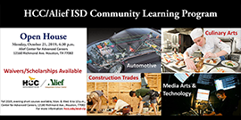 HCC/Alief ISD Community Learning Program Open House on October 21 at 4:30 p.m. at the Career Center