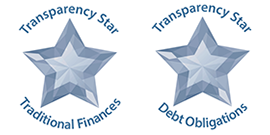 Graphic depicting transparency star awards for debt obligations and traditional finances