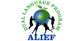 Graphic of Alief ISD's Dual Language Program logo with children and globe