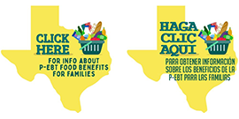 Texas outline with grocery basket - Click here for info about P-EBT Benefits for Families