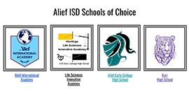 Alief ISD Schools of Choice with logos