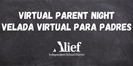 Virtual Parent Night in English and Spanish with district logo