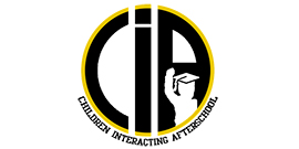 Children Interacting After School logo with student with graduation cap