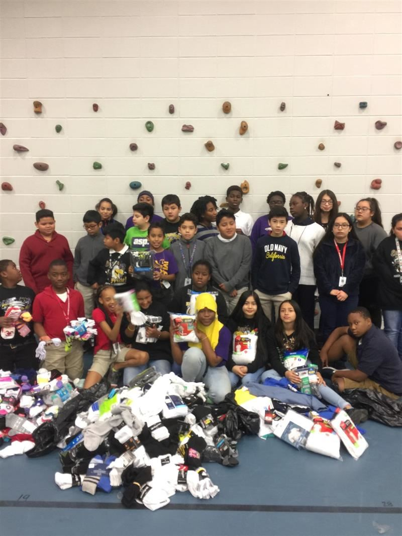 students and staff sock and t-shirt drive