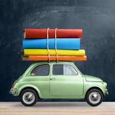 Car with Books strapped to top
