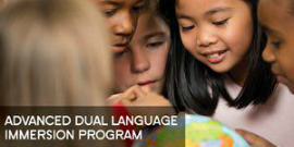 Advanced Dual Language Immersion Program with students looking at globe