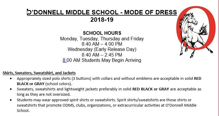 O'DONNELL MIDDLE SCHOOL - MODE OF DRESS 2018-19