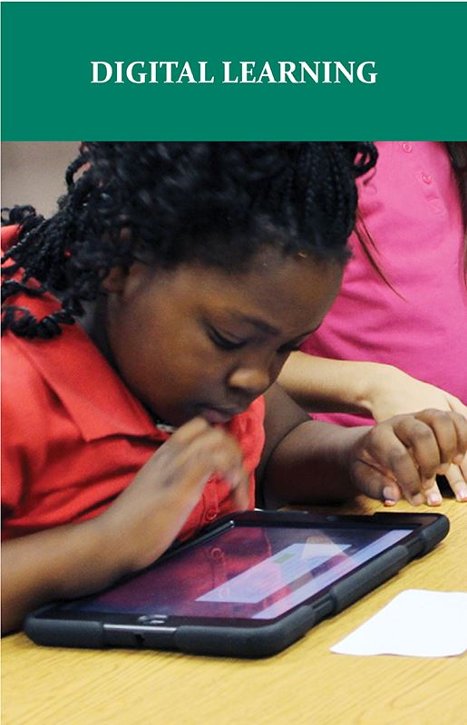 Graphic depicting student using an iPad for digital learning